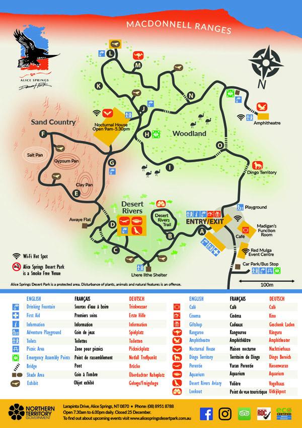 Map of Alice Springs Desert Park