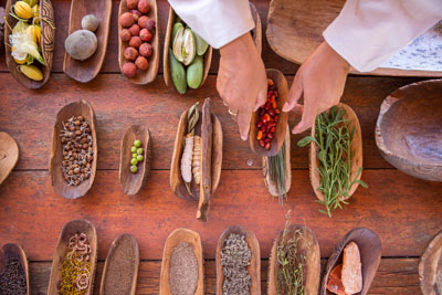 Trays of indigenous fruit flat lay
